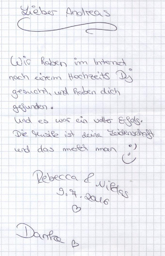 Dankschreiben von Rebecca und Niklas an ihren Hochzeits-DJ Paul van Groove, 09.07.16 im Dorint Parkhotel Bad Neuenahr.