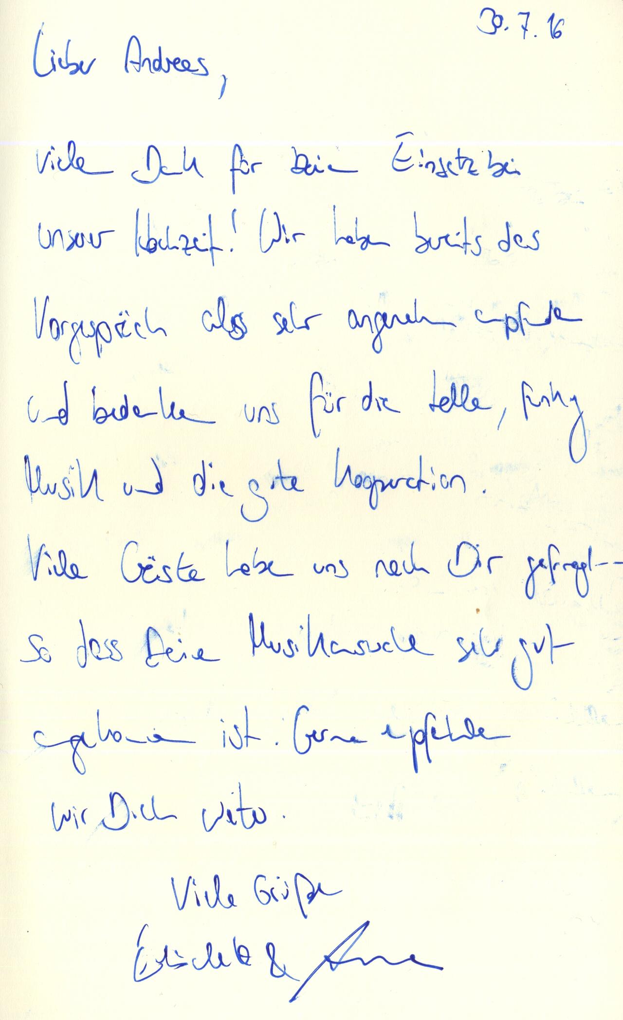 Dankschreiben von Elisabeth & Arne