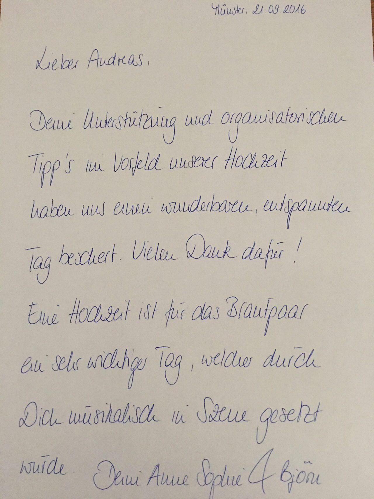 Die Danksagung von Anne & Björn.