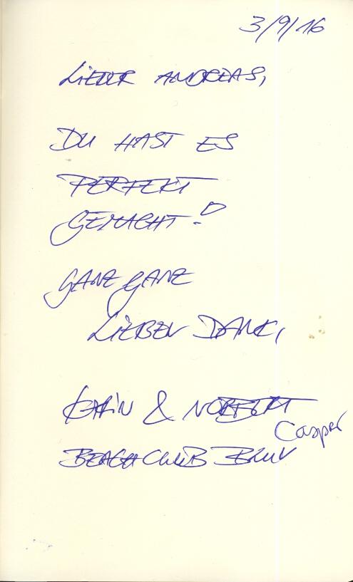 "Du hast es perfekt gemacht! Ganz ganz lieben Dank, Karin & Norbert & Casper, Beachclub Bluv"""