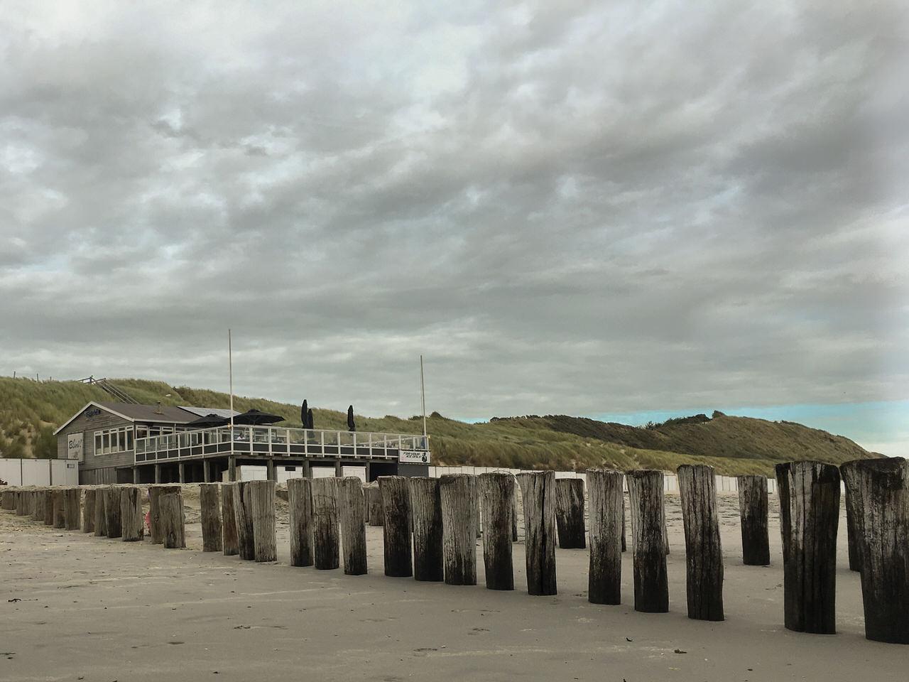 Der Strandpaviljoen Bluv schmiegt sich an die Dünen der holländischen Nordseeküste. Foto: Andreas Paul / Paul van Groove