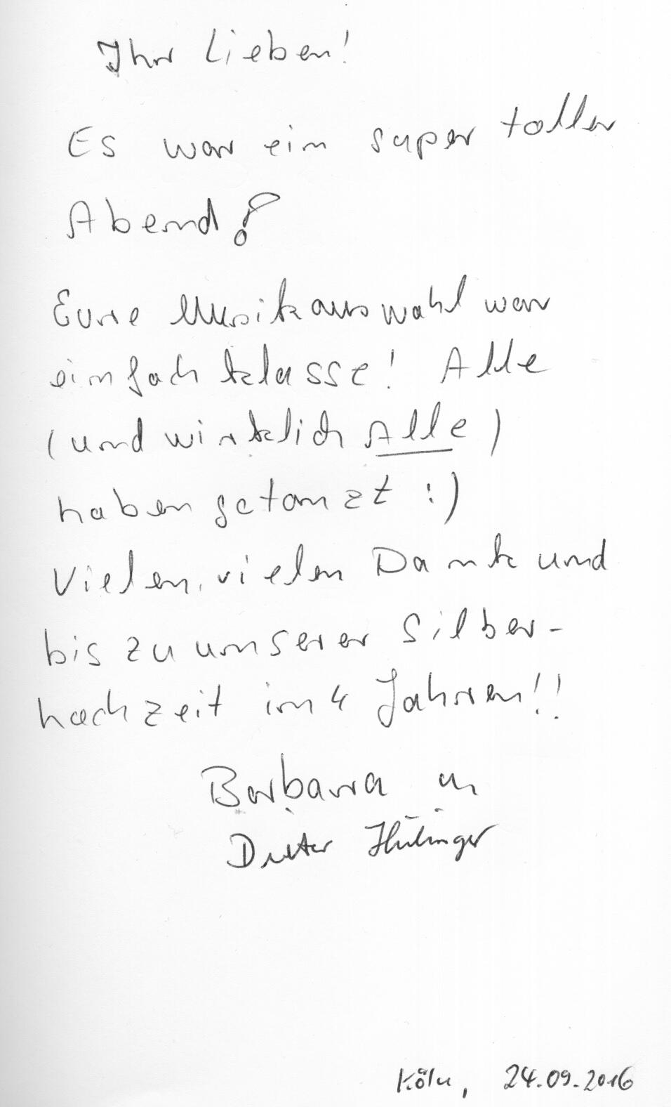 Die Danksagung von Barbara & Dieter