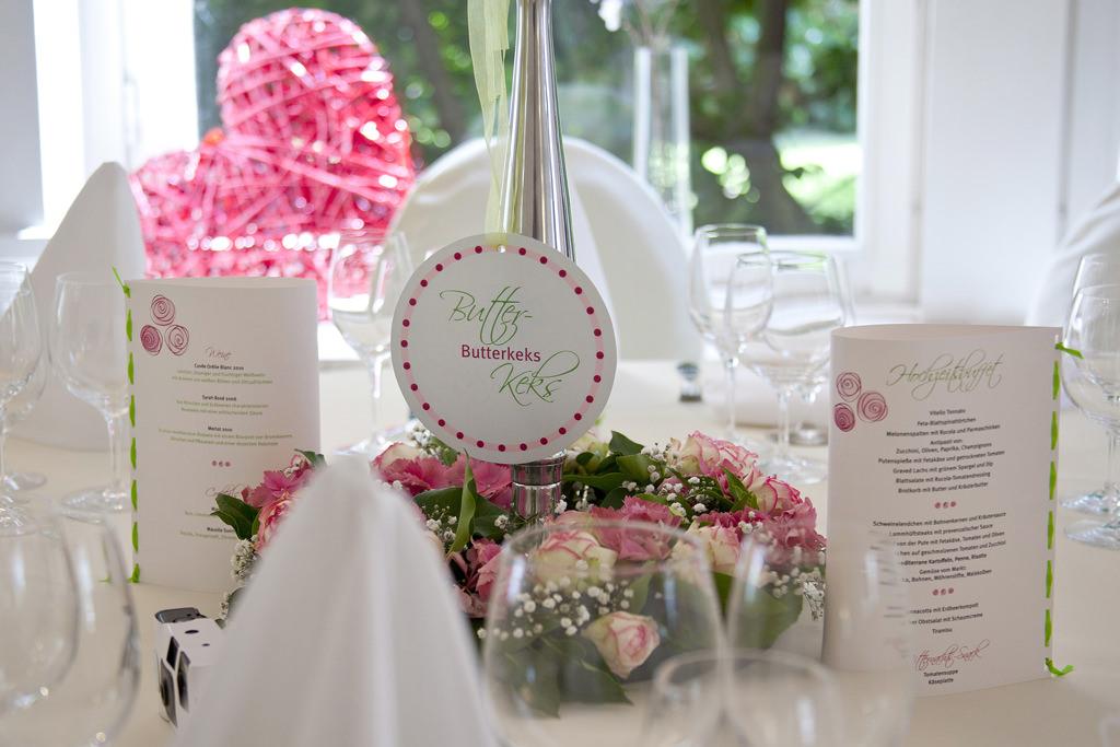 Villa Girmes Tischdeko für Hochzeit. Foto: Villa Girmes