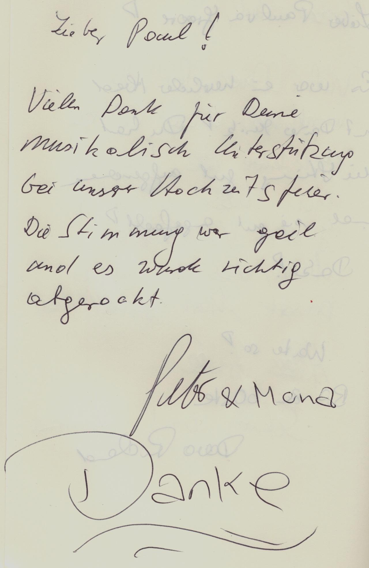 Der Eintrag von Mona & Peter in meinem Gästebuch.